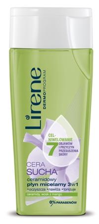 ceramidowy płyn micelarny 3w1 Lirene, płyn micelarny do cery suchej